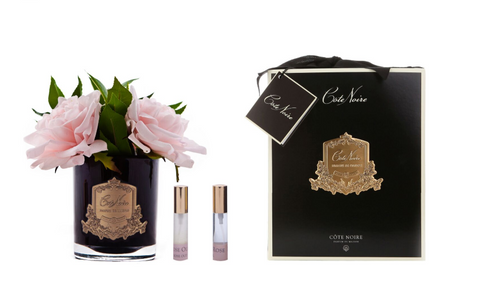 Côte Noire Perfumed Pink English Rose in Black Glass