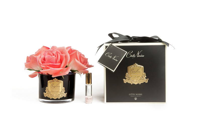 Côte Noire Perfumed Natural Touch 5 Roses in Black - White Peach - GMRB65