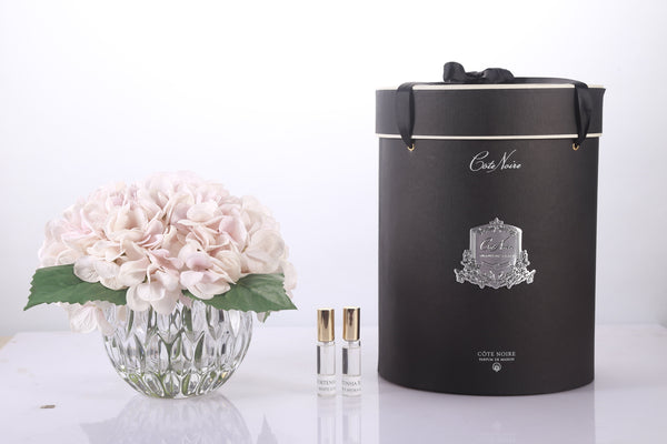 Cote Noire Luxury Range Hydrangea's - Blush in Crystal Vase - LHY03