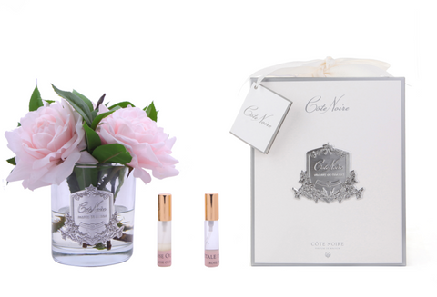 Côte Noire Perfumed Pink English Rose in Clear Glass