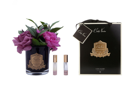 Côte Noire Perfumed Rose Bouquet in Black Glass