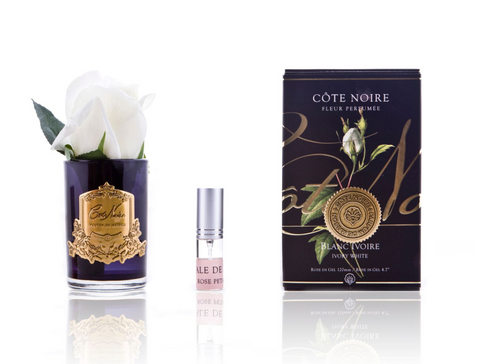 Côte Noire Perfumed Natural Touch Rose Bud in Black - Ivory White