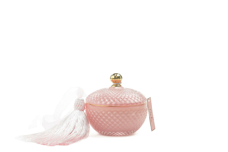 Round Art Deco Candle - Pink - Peony Bouquet - GML30002