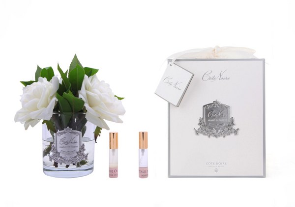 Côte Noire Perfumed Ivory English Rose - Clear Glass - SFR01