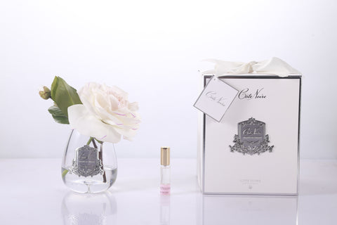 Cote Noire - Luxury Range Tea Rose in clear Glass - Pink Blush