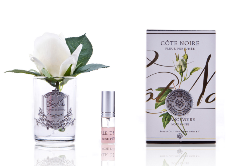 Côte Noire Perfumed Natural Touch Rose Bud in Frost - Ivory White