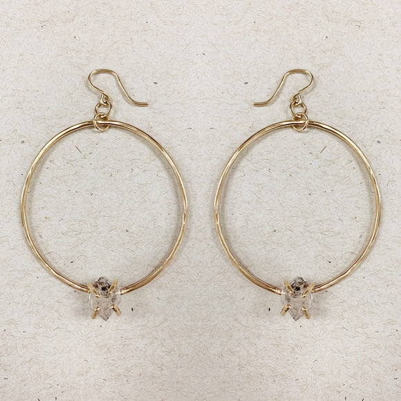 Herkimer Diamond Hoops- Gold