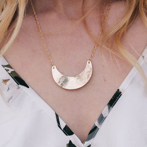 Big Moon Necklace- Gold