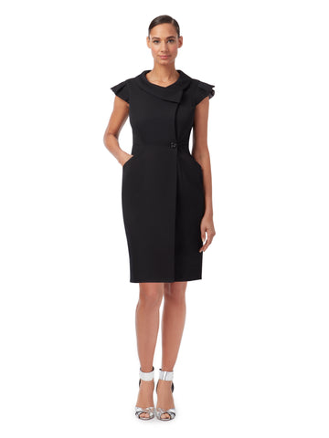 D064 _ ARCHITRAVE _ Tailored Wrap Dress_Classic Black