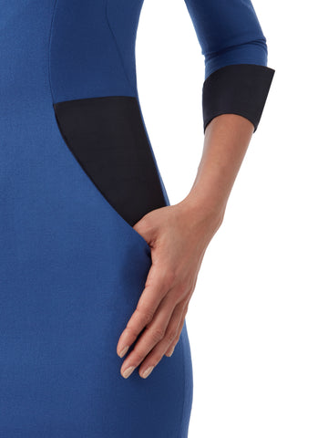 D131A _ STREAM _ 4/5-Sleeve Dress _ Topaz Blue
