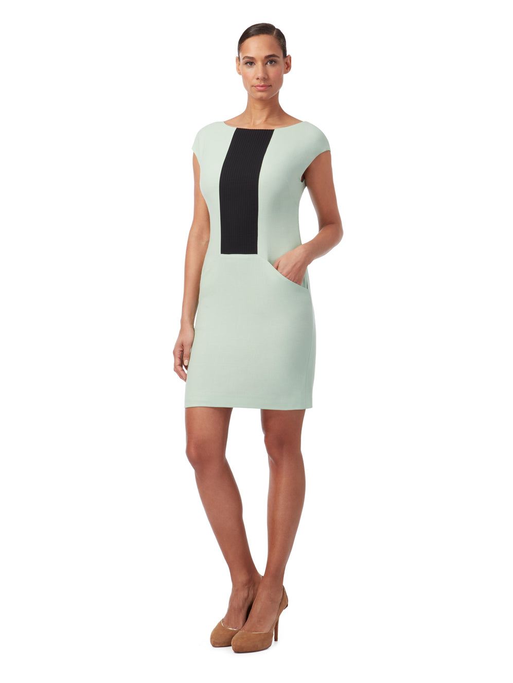 D159 _ BROOK _ Pin-Tuck Panel Shift Dress
