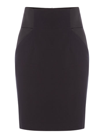S035B_IRIS_Classic Black Contrast Panel Fitted Skirt