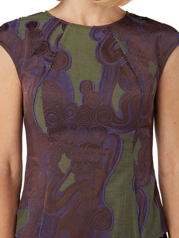 B010 _ SOLIDAGO _ Sleeveless Sculpted Top _ Purple-Olive