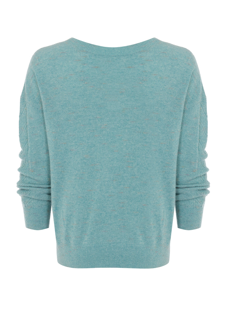 K001 _MEADOW _ Cashmere Reversible Sweater _ Aquamarine