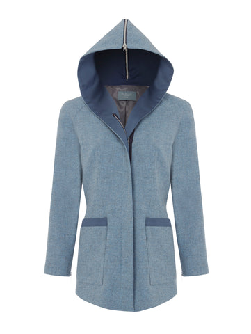 J015 _ SHALE _ Hooded Cardi-Coat _ Fog Blue