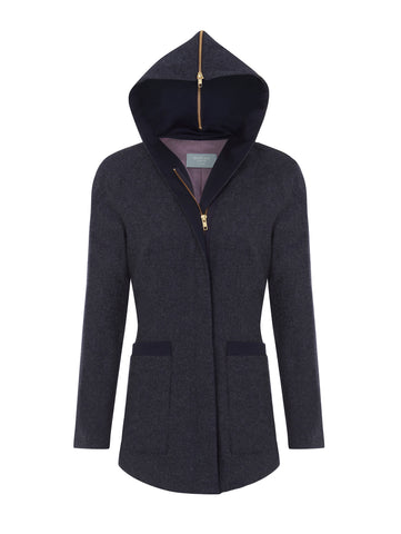 J015 _ SHALE _ Hooded Cardi-Coat _ Twilight Blue