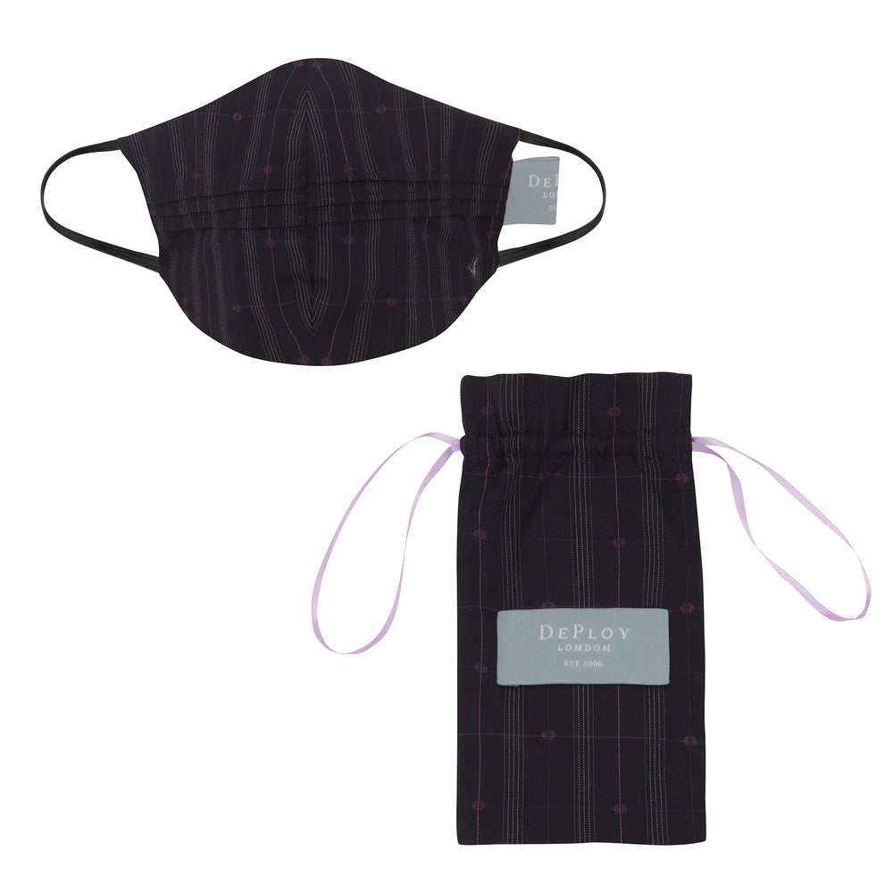 A019 _ LATITUDE _ Cotton Pinstripe Mask _ Black