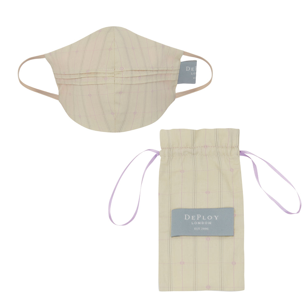 A019 _ LATITUTE _ Cotton Pinstripe Mask _ Vanilla