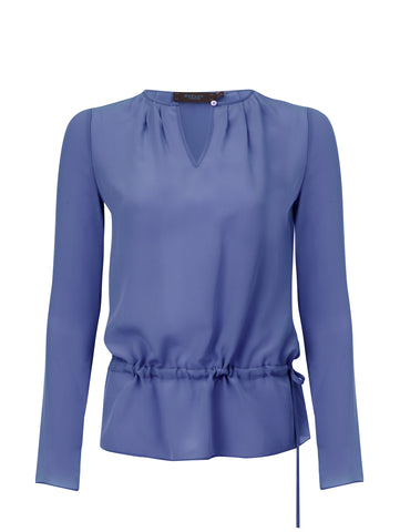 B097C _ WISP _ Pleated-Neck Silk Blouse _ Storm