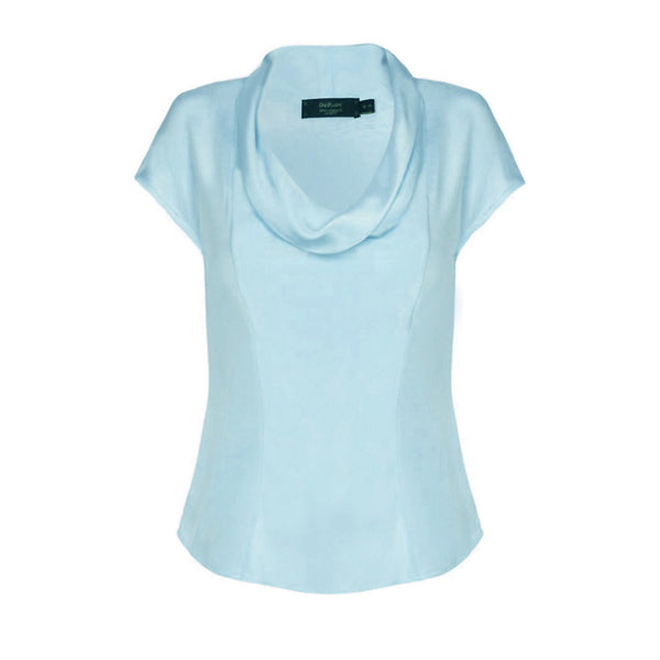 B130B _ CLOUD _ Cowl-Neck Silk Top