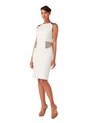 D018 _ LOTUS _ Cap-Sleeve Sheath Dress _ Ivory