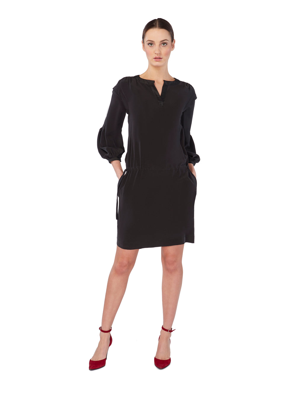 D028 _ MOKARA _ 2-Way Shift Dress _ Black