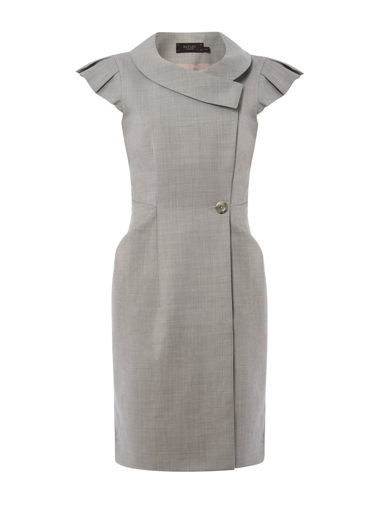D064 _ ARCHITRAVE _ Tailored Wrap Dress_Alabaster Grey