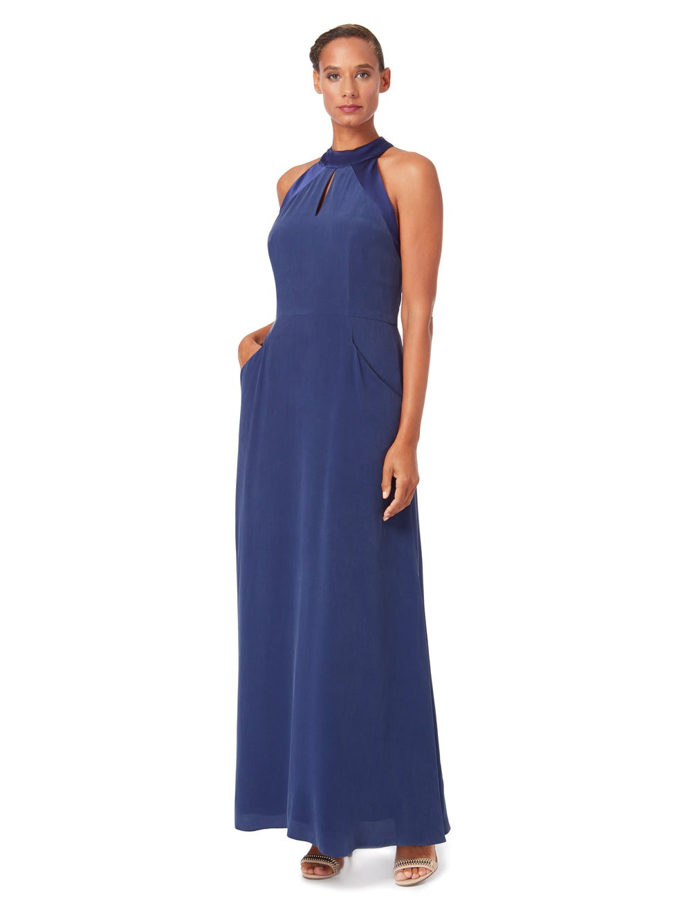 D076 _ CASCADE _ Halter-Neck Silk Maxi Dress