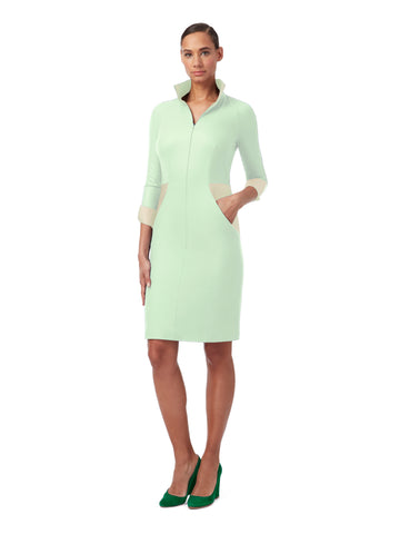 D131A _ STREAM _ 4/5-Sleeve Dress _ Celadon Green