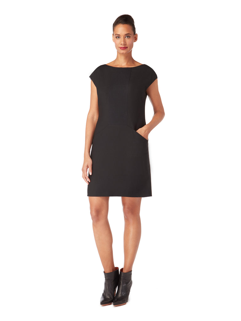 D159 _ BROOK _ Black Pin-Tuck Panel Shift Dress