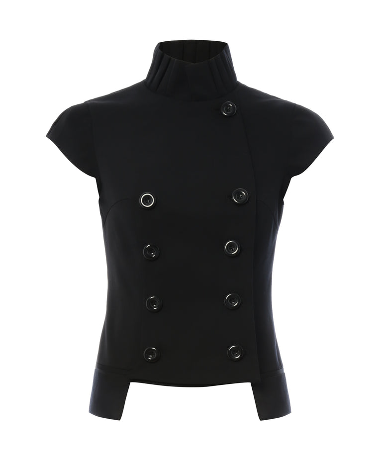 J030 _ ARCHITRAVE _ Fan-Collar Waistcoat _ Black