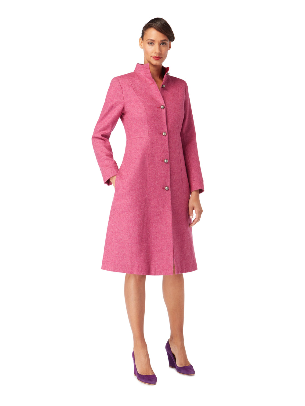 J043D _ PURLIEU _ Herringbone Dress Coat