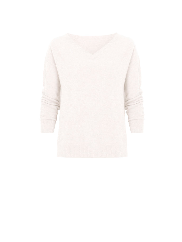 K001 _MEADOW _ Cashmere Reversible Sweater _ Vanilla