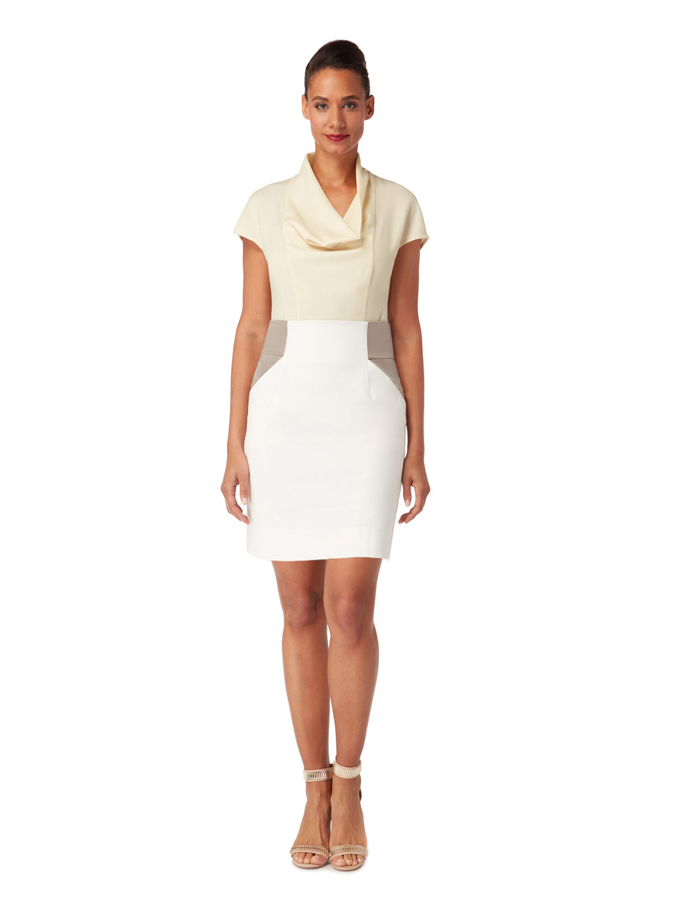 S035B_IRIS_White Contrast Panel Fitted Skirt