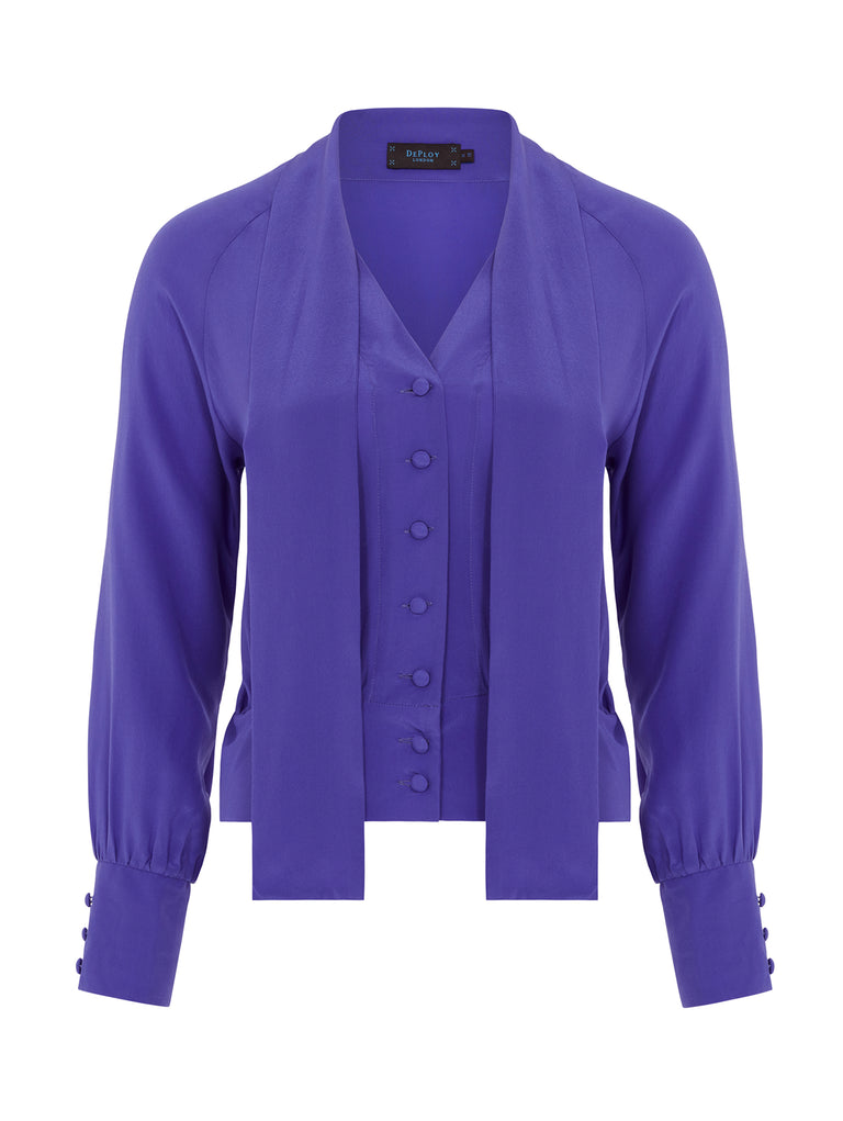 B083_LAVENDER_Silk Bow Blouse