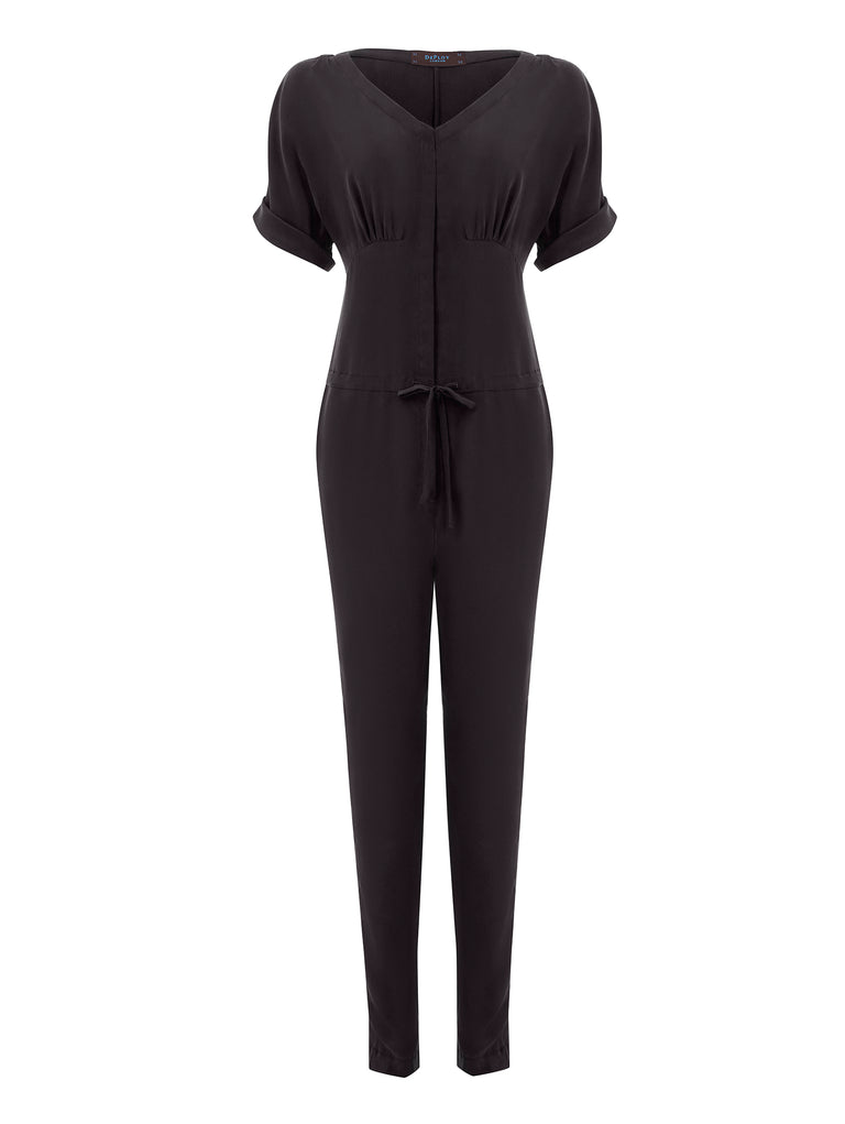 T040C _ ACER _ Draw-String Silk Jumpsuit _ Black