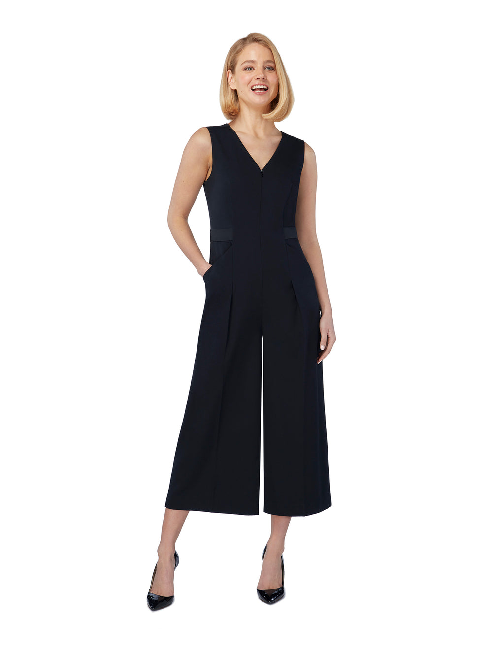 T043 _ COLUMN _ Tailored Crop-Legged Jumpsuit