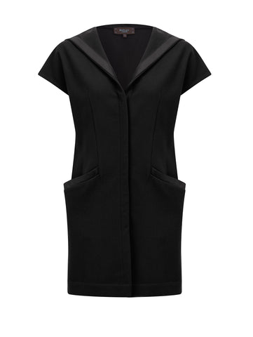 W008 _ SHELL _ Melton Hooded Gilet _ Black