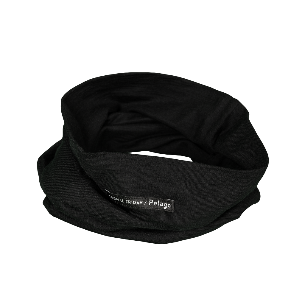 Merino Wool Tube Scarf Black | Formal Friday X Pelago