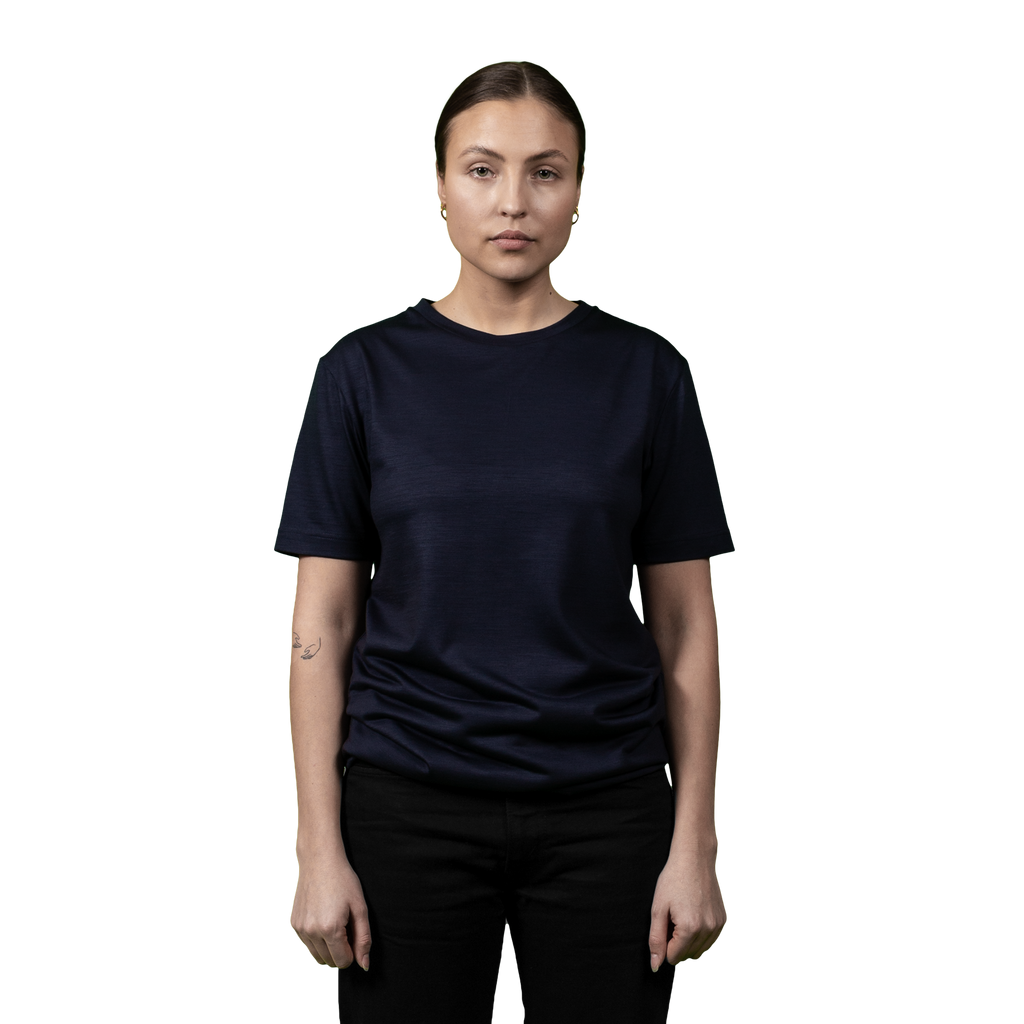 Heavyweight Ultrafine Merino T--Shirt | Navy