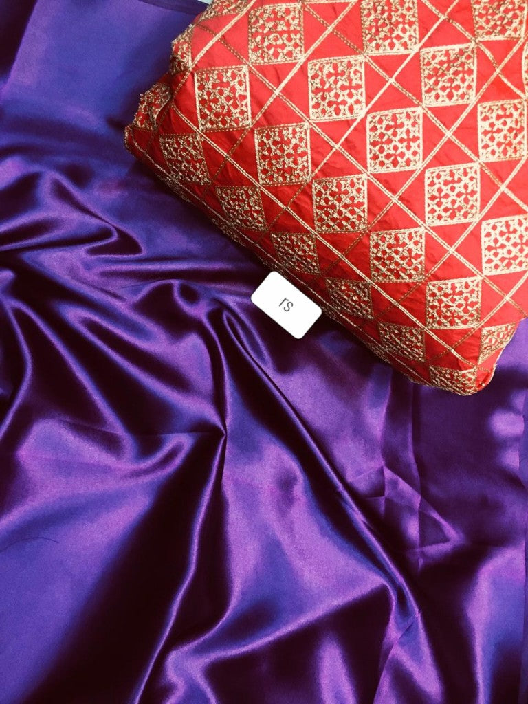 Purple Color Plain Satin Silk Saree With Embroidered Blouse Ps Purple Narivastra Com
