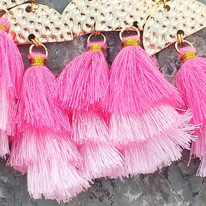 Pink tassel earrings for women, with gold, Riverstone, and hot pink Jade, healing stone jewelry for women