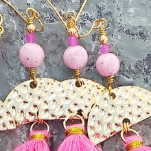 Load image into Gallery viewer, Pink tassel earrings for women, with gold, Riverstone, and hot pink Jade, healing stone jewelry for women