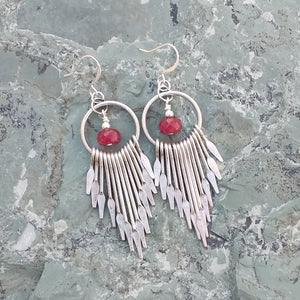 Silver fan chandelier earrings with dyed red Quartz for women, healing stone jewelry