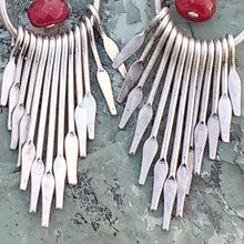 Load image into Gallery viewer, Silver fan chandelier earrings with dyed red Quartz for women, healing stone jewelry