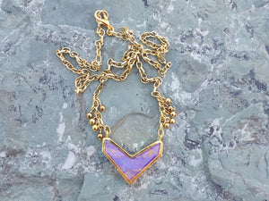 Purple Jasper chevron necklace for women, gold necklace, healing stone jewelry