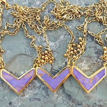 Load image into Gallery viewer, Purple Jasper chevron necklace for women, gold necklace, healing stone jewelry