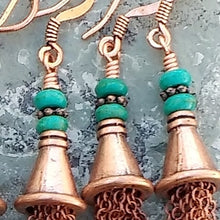 Load image into Gallery viewer, Copper chain tassel earrings for women with turquoise Magnesite, healing stone jewelry, tassel earrings