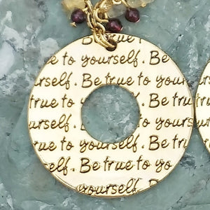 Be True To Yourself gold pendant necklace with Citrine, and Garnet, healing stone jewelry for women