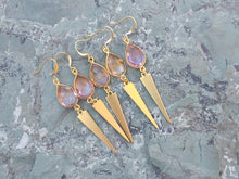Load image into Gallery viewer, Morganite and gold drop earrings for women, healing stone jewelry